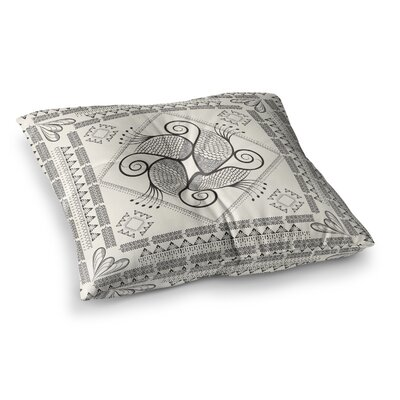Paisley into the Dream by Famenxt Floor Pillow Size: 23 x 23, Color: Beige