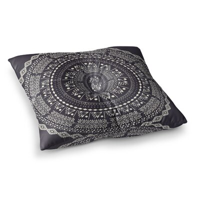 Swadesi Boho Mandala Illustration by Famenxt Floor Pillow Size: 23 x 23, Color: Black