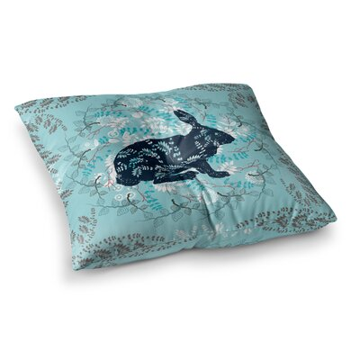 Bunny in the Jungle Animals by Famenxt Floor Pillow Size: 23 x 23