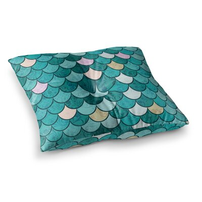 Mermaid Fish Scales Nautical Illustration by Famenxt Floor Pillow Size: 26 x 26
