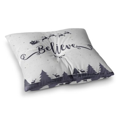 Christmas Believe Illustration by Famenxt Floor Pillow Size: 26 x 26