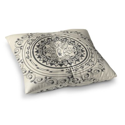 Boho Folk Mandala Digital by Famenxt Floor Pillow Size: 26 x 26