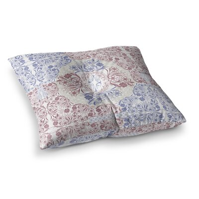 Floral Dense Garden Illustration by Famenxt Floor Pillow Size: 23 x 23