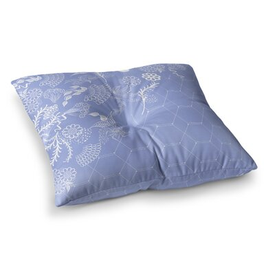 Flora Summer Polygon Illustration by Famenxt Floor Pillow Size: 23 x 23, Color: Blue/Lavender
