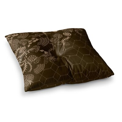 Flora Summer Polygon Illustration by Famenxt Floor Pillow Size: 23 x 23, Color: Brown/Tan