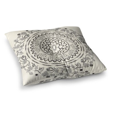 Botanical Folk Mandala Illustration by Famenxt Floor Pillow Size: 26 x 26