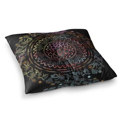 Botanical Watercolor Mandala Illustration by Famenxt Floor Pillow Size: 26 x 26