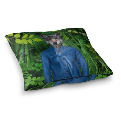 Into the Leaves N3 Wolf by Natt Floor Pillow Size: 26 x 26