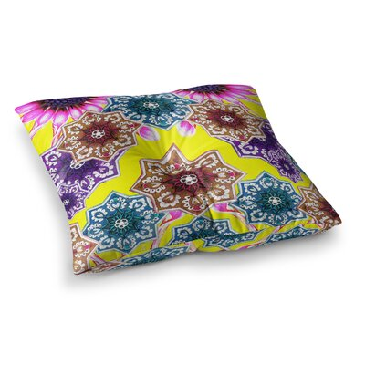 Flower Power Floral by Fernanda Sternieri Floor Pillow Size: 26 x 26, Color: Yellow