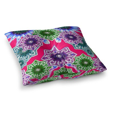 Flower Power Floral by Fernanda Sternieri Floor Pillow Size: 26 x 26, Color: Red/Magenta