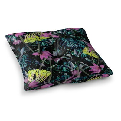 Night Garden Neon Flowers by Fernanda Sternieri Floor Pillow Size: 23 x 23
