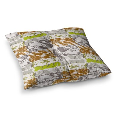 Nice Knot by Fernanda Sternieri Floor Pillow Size: 23 x 23, Color: Orange/Gray