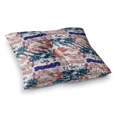 Nice Knot by Fernanda Sternieri Floor Pillow Size: 23 x 23, Color: Red/Blue