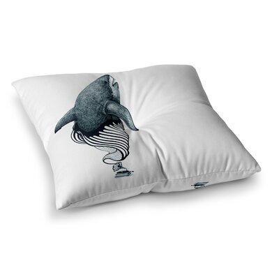 Shark Record by Graham Curran Floor Pillow Size: 23 x 23, Color: White