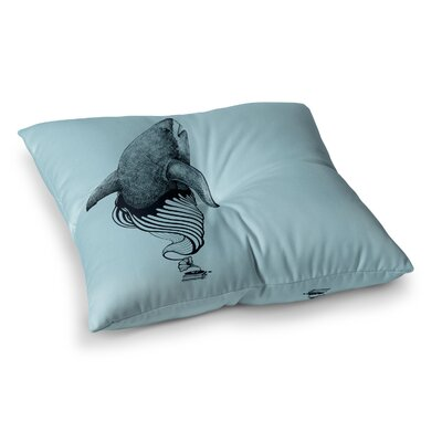 Shark Record by Graham Curran Floor Pillow Size: 26 x 26, Color: Teal