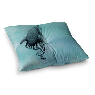 Shark Record by Graham Curran Floor Pillow Size: 23 x 23, Color: Light Blue/Pink