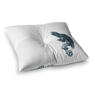 Turtle Tuba by Graham Curran Floor Pillow Size: 23 x 23, Color: White