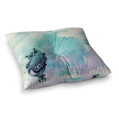 Owl by Graham Curran Floor Pillow Size: 23 x 23, Color: Blue/Pink/White