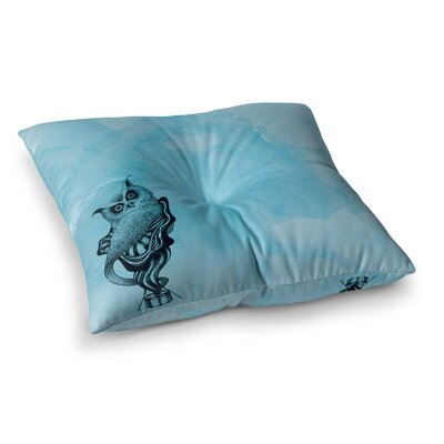 Owl by Graham Curran Floor Pillow Size: 23 x 23, Color: Teal