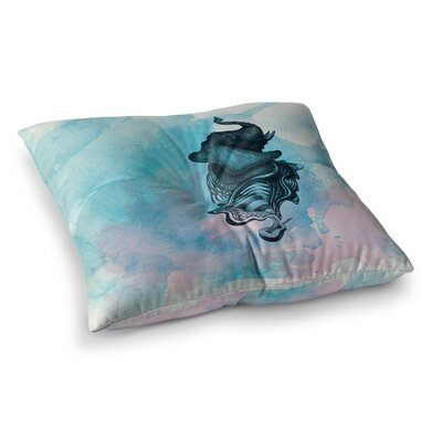 Elephant Guitar by Graham Curran Floor Pillow Size: 23 x 23, Color: Blue/Pink/White