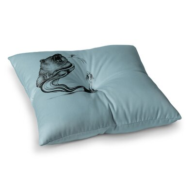 Hot Tub Hunter by Graham Curran Floor Pillow Size: 23 x 23, Color: Teal