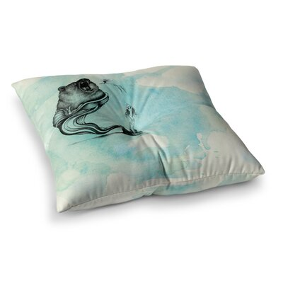Hot Tub Hunter by Graham Curran Floor Pillow Size: 26 x 26, Color: White/Blue