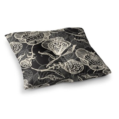 Future Nouveau by Gill Eggleston Floor Pillow Size: 26 x 26, Color: White/Black