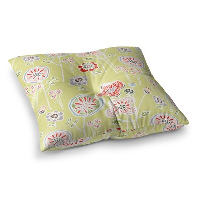 Folky Floral by Gill Eggleston Floor Pillow Size: 23 x 23, Color: Green/Yellow