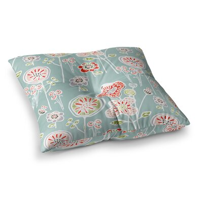 Folky Floral by Gill Eggleston Floor Pillow Size: 23 x 23, Color: Teal/Blue