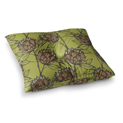 Protea by Gill Eggleston Floor Pillow Size: 23 x 23, Color: Orange/Green