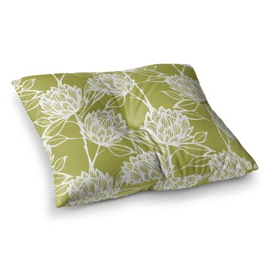 Protea by Gill Eggleston Floor Pillow Size: 26 x 26, Color: Green/White