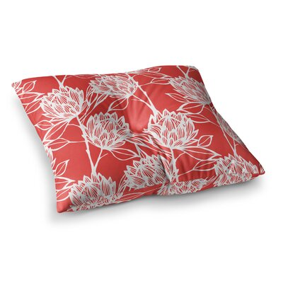Protea by Gill Eggleston Floor Pillow Size: 23 x 23, Color: Red/White