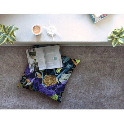Wonder Dark Flower by Gabriela Fuente Floor Pillow Size: 26