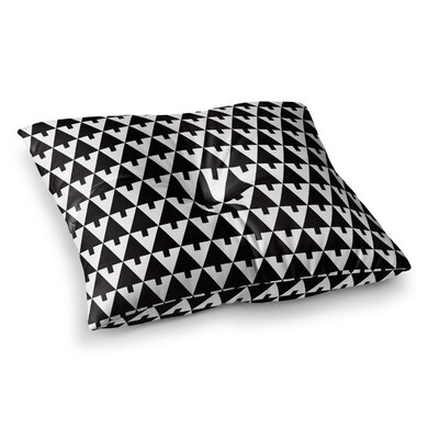 Happy X-Mas Geometric by Gabriela Fuente Floor Pillow Size: 23 x 23, Color: White/Black