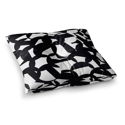 Geo by Gabriela Fuente Floor Pillow Size: 23 x 23, Color: White/Black