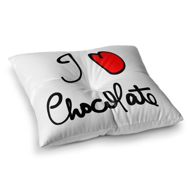 I Love Chocolate Food Typography by Gabriela Fuente Floor Pillow Size: 26 x 26
