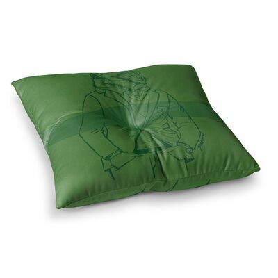 Dapper Bear Animal by Geordanna Cordero-Fields Floor Pillow Size: 26 x 26