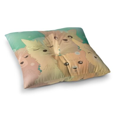 Alpacas in Snow Animals by Graphic Tabby Floor Pillow Size: 23 x 23