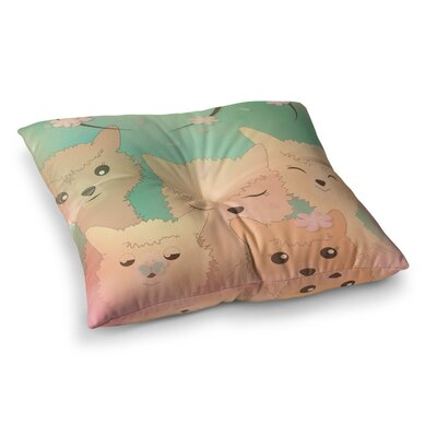 Spring Alpacas Animals by Graphic Tabby Floor Pillow Size: 26 x 26