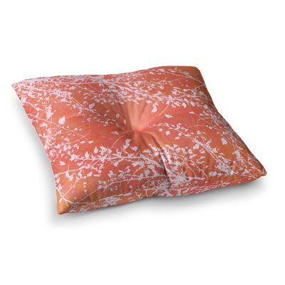 Twigs Silhouette by Iris Lehnhardt Floor Pillow Size: 26 x 26, Color: Coral/Orange