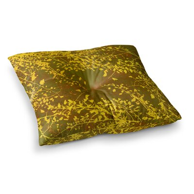 Twigs Silhouette by Iris Lehnhardt Floor Pillow Size: 23 x 23, Color: Mustard