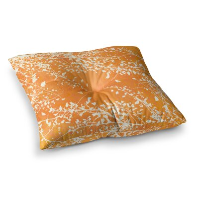 Twigs Silhouette by Iris Lehnhardt Floor Pillow Size: 23 x 23, Color: Tangerine/Orange