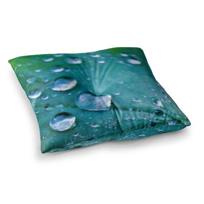 Water Droplets by Iris Lehnhardt Floor Pillow Size: 26 x 26, Color: Aqua/Teal