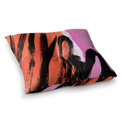 Strokes on Sherbet Abstract by Iris Lehnhardt Floor Pillow Size: 23 x 23