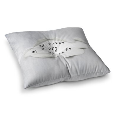 My Life Paper Text by Ingrid Beddoes Floor Pillow Size: 26 x 26