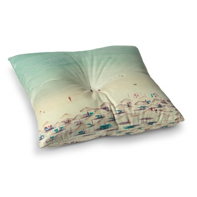 Happy Summer Beach by Ingrid Beddoes Floor Pillow Size: 23 x 23