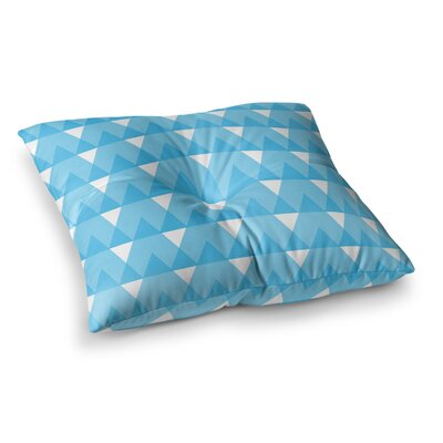 Cyan Triangles by Jackie Rose Floor Pillow Size: 26 x 26