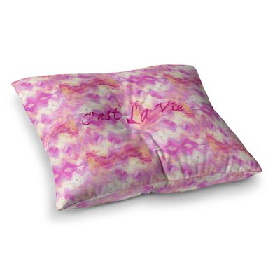 Cest La Vie by Ebi Emporium Floor Pillow Size: 26 x 26, Color: Pink