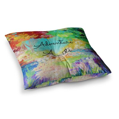 Adventure Awaits Painting Typography by Ebi Emporium Floor Pillow Size: 26 x 26
