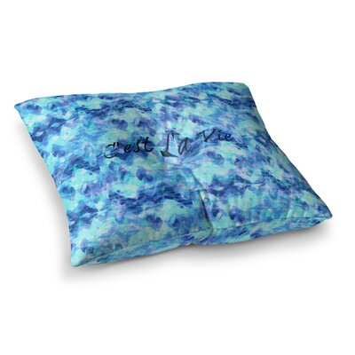 Cest La Vie by Ebi Emporium Floor Pillow Size: 23 x 23, Color: Blue/Aqua